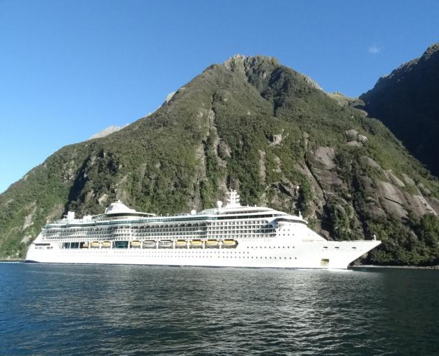 Cruise ship Radiance of the Seas in Milford Sound. Photo: ODT files