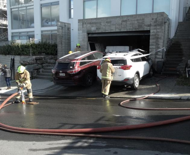 The car went on fire in Panorama Tce this morning. PHOTO: JOSHUA WALTON
