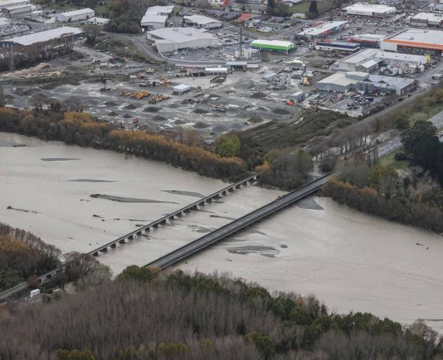 Ashburton was cut in two when the bridge closed during last week's heavy rain and floods. Photo:...