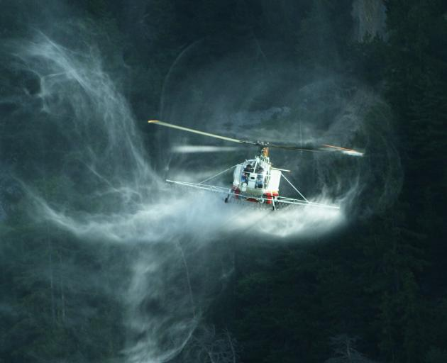 A helicopter flying in the vortex ring state, suspected to be the cause of a 2014 helicopter crash at Mt Alta which killed Auckland businessman Jerome Box (52). Photo: www.valair.ch / aerialstage.com