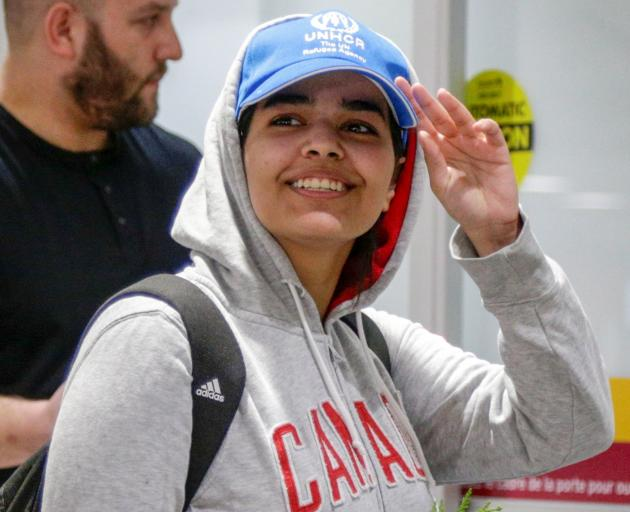 Rahaf Mohammed al-Qunun at Toronto airport. Photo: Reuters