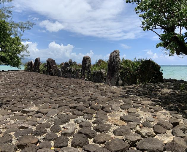 Hauvir'i marae at Taputapuatea borders the lagoon shoreline.