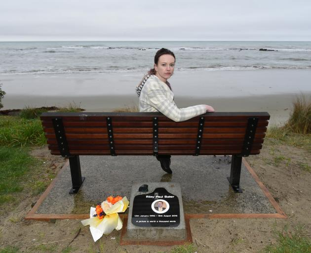 Sarah Baker at the memorial to her brother, Riley, at Shag Point. Photo: Gregor Richardson