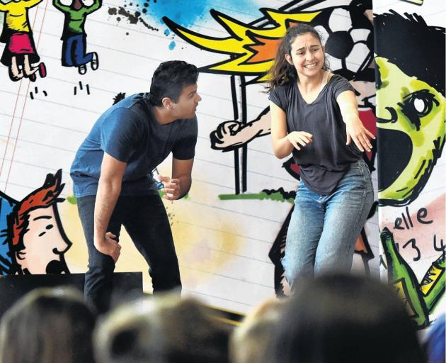 Smashed Project actors Mo Nasir and Lucy Dawber deliver atheatre-based education programme to...