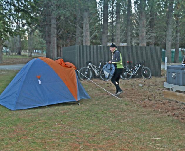 Ian sets up camp at Sailors Cutting.
