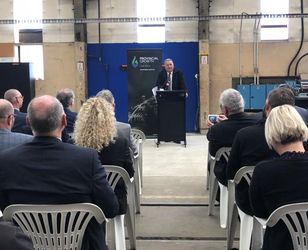 Regional development minister Shane Jones makes Provincial Growth Fund announcements at Hillside...