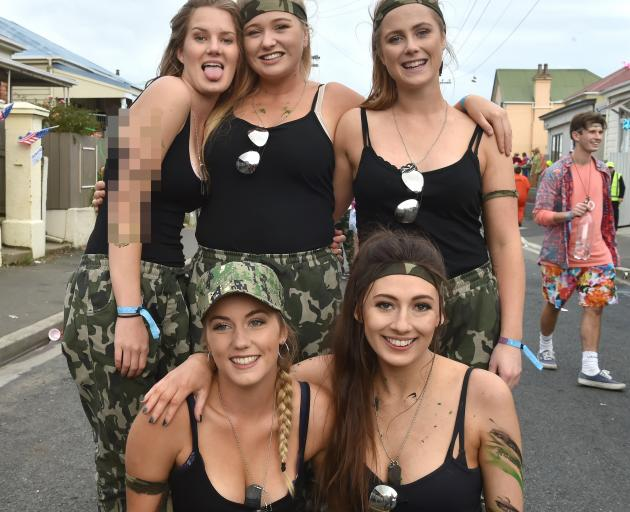 Ready for combat are (from left) 19-year-old students (front) Lilli Wilkinson, of  Dunedin, Fran...