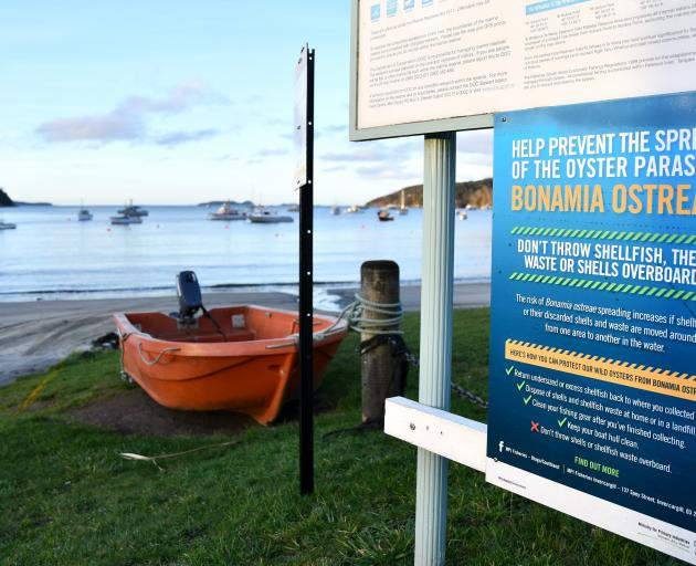 Signs have been erected on the island to help prevent the spread of an oyster parasite.