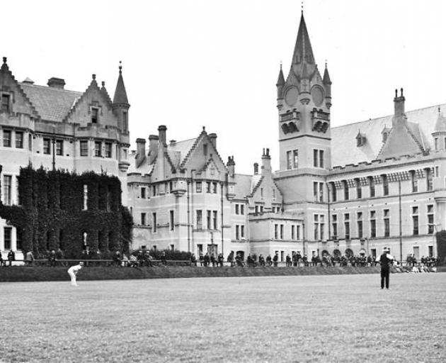 Patients watch a game of cricket at Seacliff Lunatic Asylum during the 1920s. The building,...