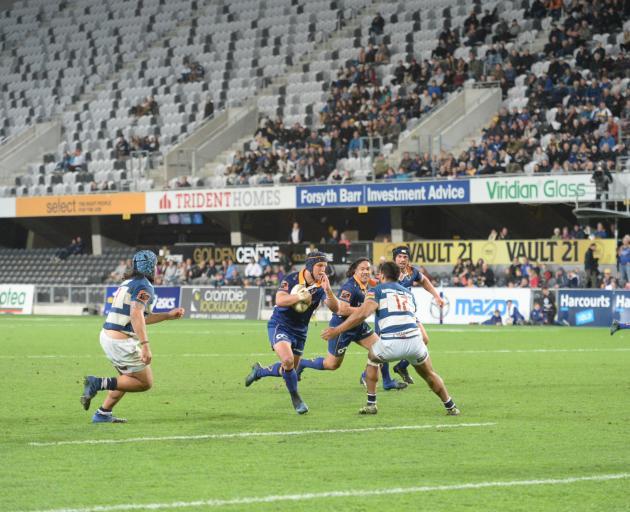 Otago's Tei Walden makes a break at Forsyth Barr Stadium. Photo: Linda Robertson