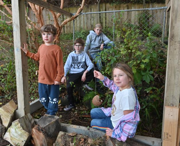 Inside St Leonard's Primary School's new butterfly enclosure are (from left) Cooper Sykes (5),...