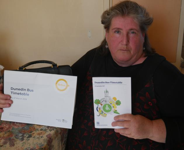 Bus user Teena Henderson says the new Dunedin bus timetable (left) is not fit for purpose...