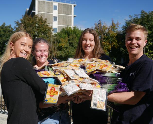 University of Otago postgraduate food science students (from left) Felicity Prendergast, Meghan ...