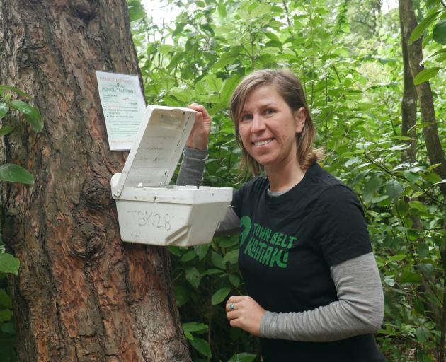 Former Town Belt Kaitiaki education co-ordinator Claudia Babirat does a final check of a possum...