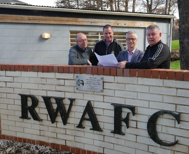 Looking at the plans for Roslyn Wakari AFC's  new clubrooms are (from left)  club life member...