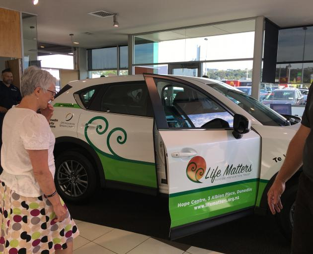 Life Matters Suicide Prevention Trust founder Corinda Taylor checks out the new Mazda CX5, given...