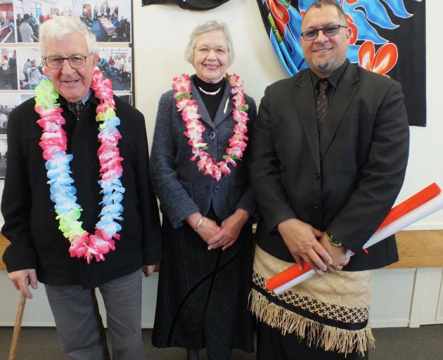 Pacific Trust Otago chairman Sailosi Pole (right)  with the owners of the trust's new Caversham premises, Eldon and Andrea Mosley. PHOTO: GILLIAN VINE