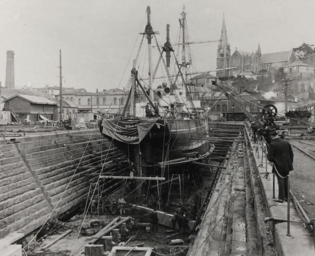 The Antarctic exploration vessel Aurora in dry dock in Port Chalmers, 1916. IMAGE: SUPPLIED