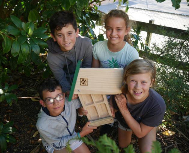 Town Belt Kaitiaki student leaders (from left) Nikau McNeilly (10), Kaedyn Trow (10), Aurora...