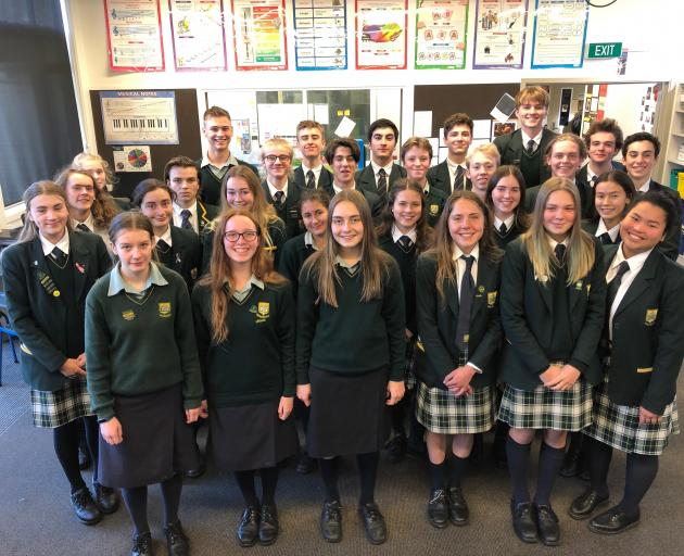 Bayfield High School singers prepare for The Big Sing  in Dunedin next week. PHOTO: SUPPLIED