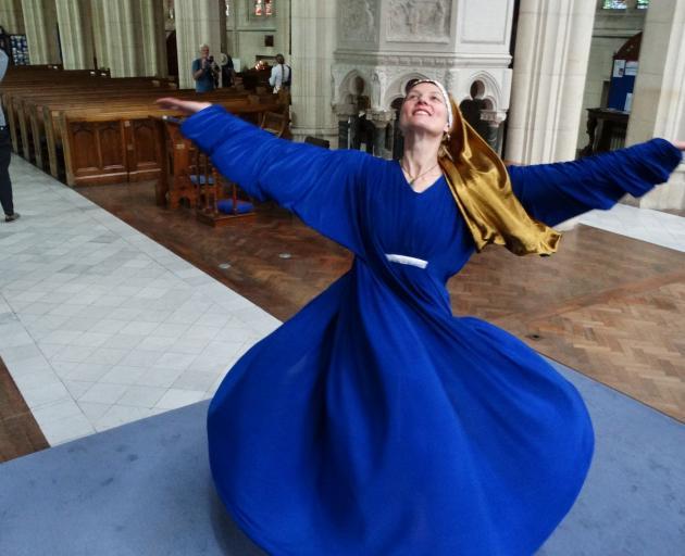 Oamaru-based dancer Heather Hubber rehearses the role of Hildegard of Bingen at  St Paul's...