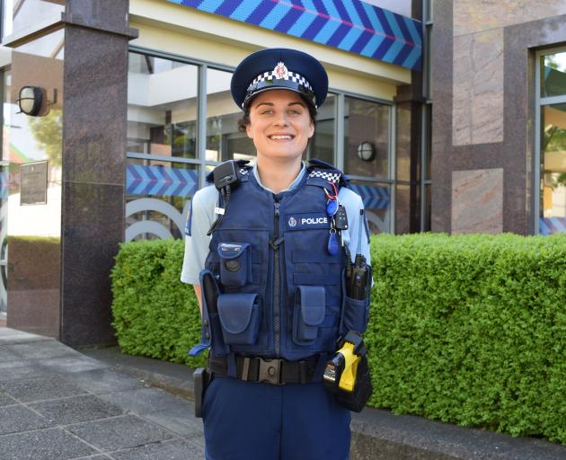 Constable Stephanie Lee at her first day on the job at Dunedin Central police station on Monday....
