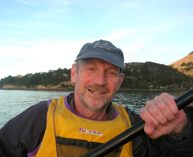 Dunedin environmental advocate and author Neville Peat kayaking on Otago Harbour.  PHOTO: STAR FILES