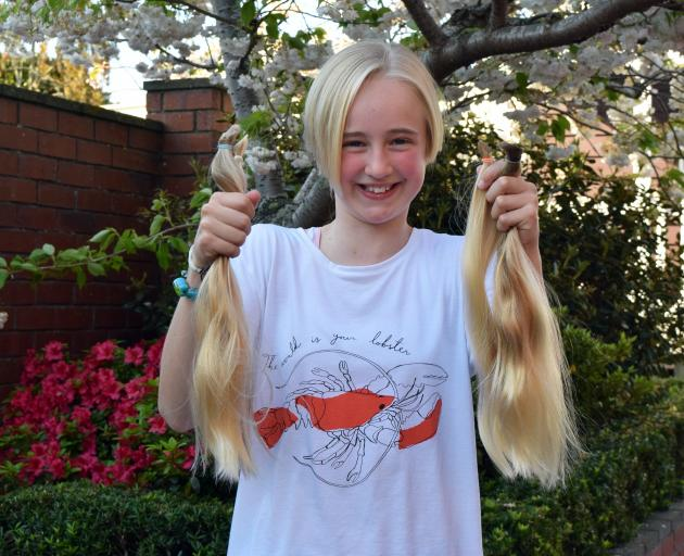 Maori Hill School pupil Aoife Sievwright displays the locks of hair she had cut off to raise...