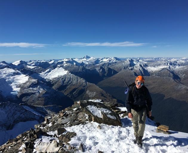 University of Otago student Luca Karjalainen (24) climbing Mt Earnslaw earlier this year. PHOTO:...