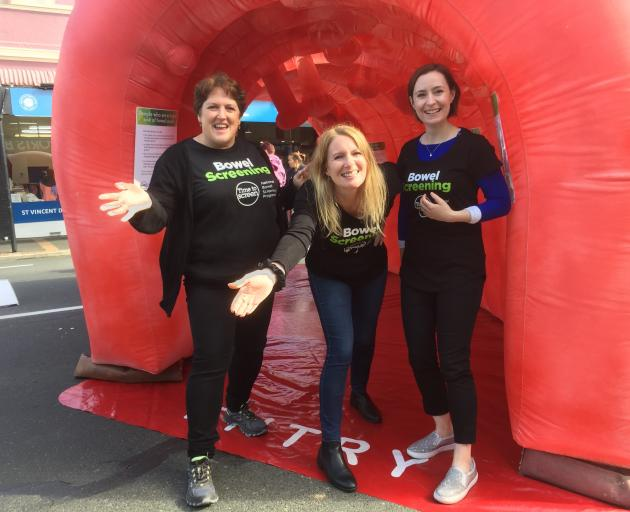 Southern DHB National Bowel Screening Programme team members with the giant inflatable bowel at...