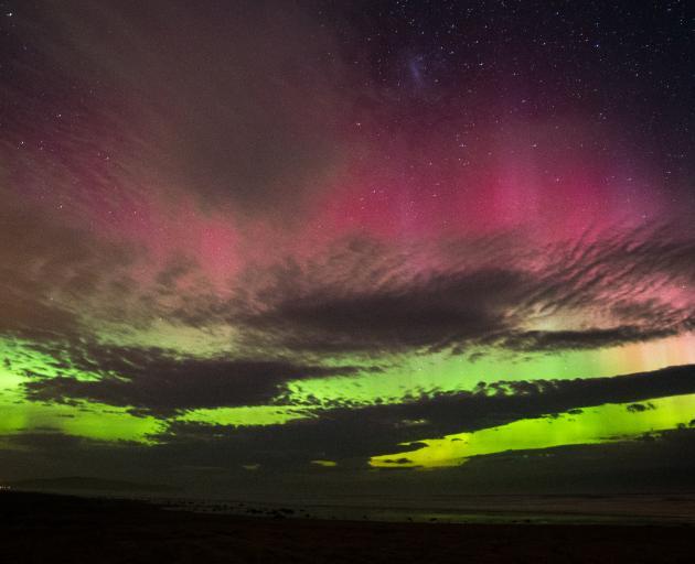The Aurora Australis seen from Stewart Island/ Rakiura . Photo: Rebecca Wilson Jennings