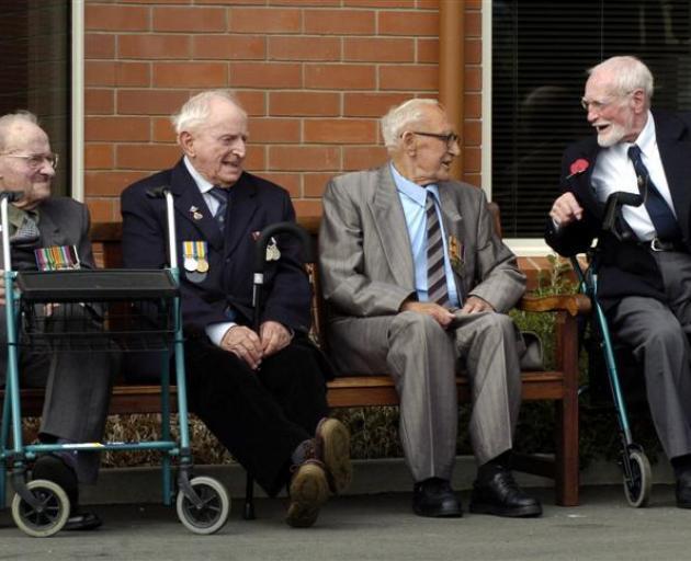 Montecillo Veterans Home and Hospital residents Alan Boyle (93), Phil Smith (85) Dick Meekin (87)...