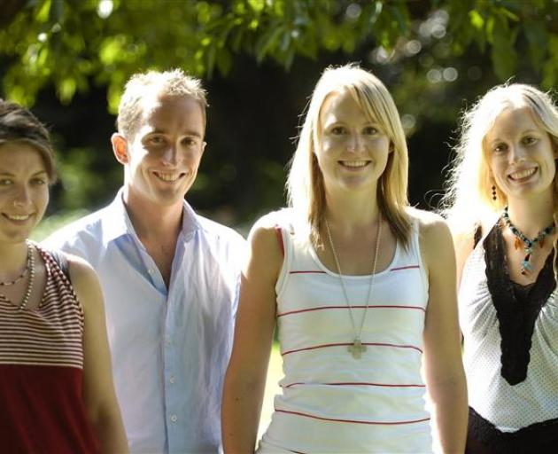 Scholarly success . . . Reflecting on their national Top Achiever Doctoral Scholarships are University of Otago doctoral students (from left to right) Amy Wolff (25), Peter Green (29), Emily Crawford (23), and Stephanie Win (22).