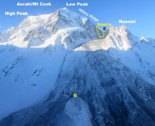 Overview of the July 2014 rock avalanche source area, path and deposits. View from near Hooker...