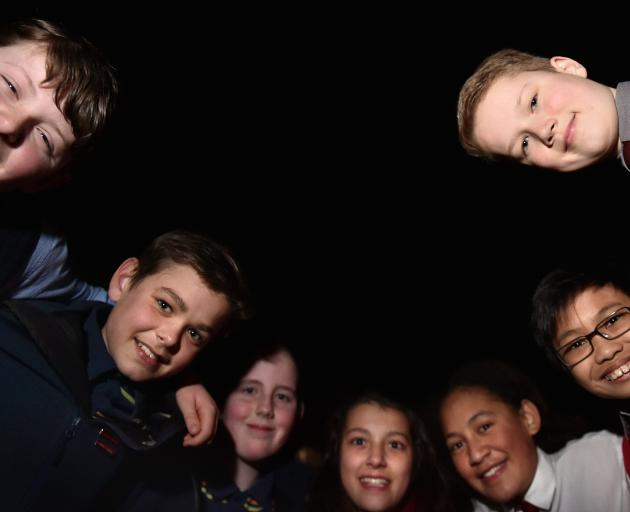 Young light pollution researchers (from left) Ben Hawke (Taieri College), Alex Livingstone and Mackenzie Greer (Tahuna Intermediate), Sylvie Latton, Star Uriaro (Kavanagh College), Ethan Montaner (Balmacewen Intermediate) and Gabriel Vink (Kavanagh) under