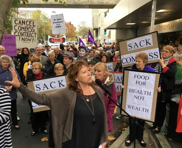 Dunedin South MP Clare Curran speaks at a protest outside Dunedin Hospital in May. Photo: Craig...