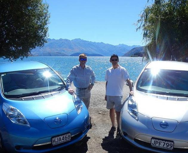 Wanaka Electric Vehicle Club members Morgan Knoesen and Mark Simmonds pushing for a fast...