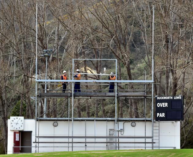 Work has begun on the frame which will house the new scoreboard at the University Oval. PHOTO...