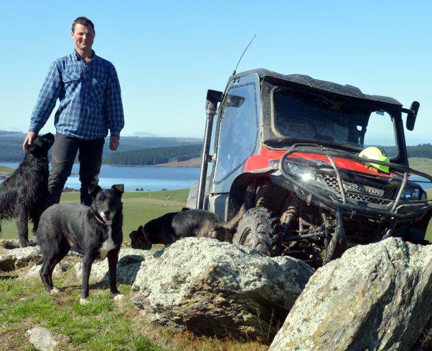 Thornicroft Station deer manager Caleb Neilson with one of the new side-by-side ATVs to be used...
