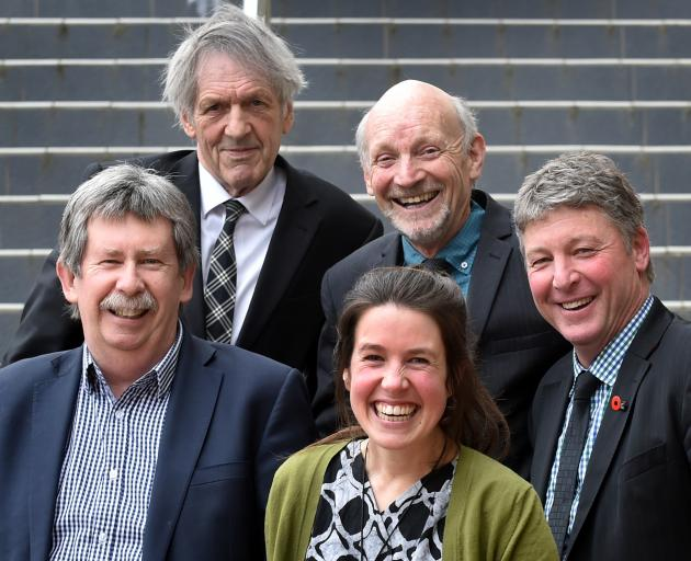 Departing city councillors (clockwise from left) Richard Thomson, John Bezett, Neville Peat,...