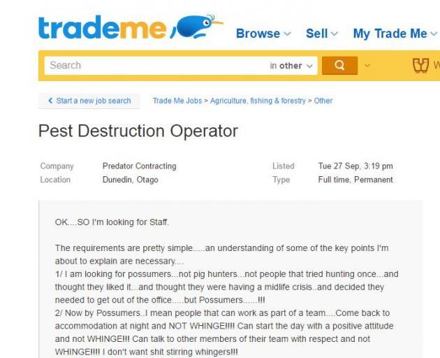 The TradeMe advertisement.
