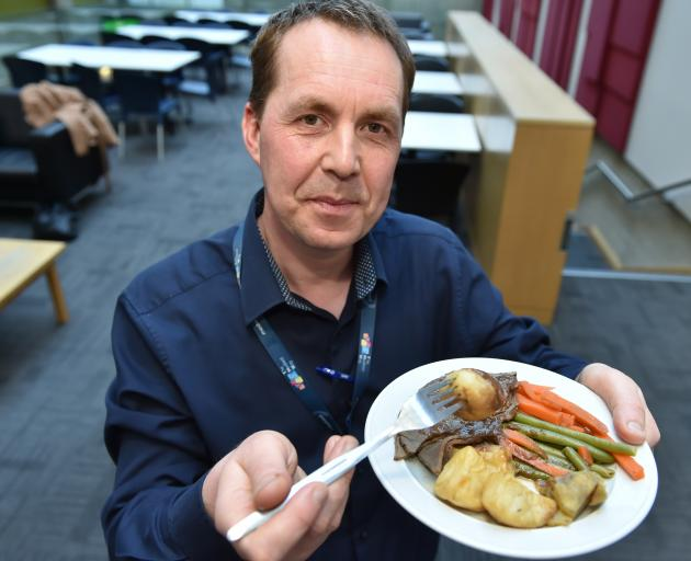 Southern District Health Board food services manager Kostya Cherkun tries some of the food on the...
