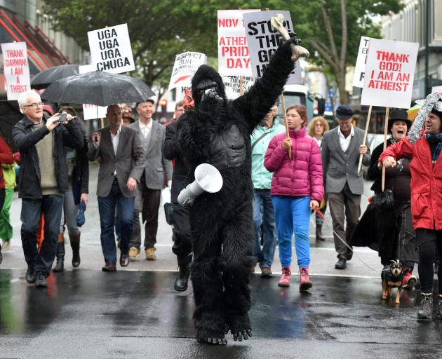 Artist Craig Hilton leads the Atheist Pride March as his alter-ego, Sahelanthropus the ape, in Dunedin yesterday. Photo by Peter McIntosh.