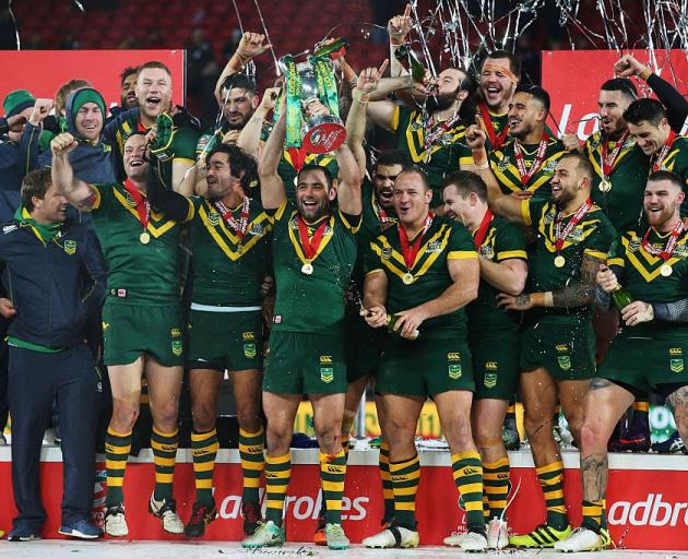 The Australia team celebrates after winning the Four Nations. Photo: Getty Images
