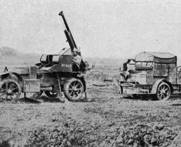 One of the British anti-aircraft guns that have played havoc with German aeroplanes on the Somme front. - Otago Witness, 6.12.1916.