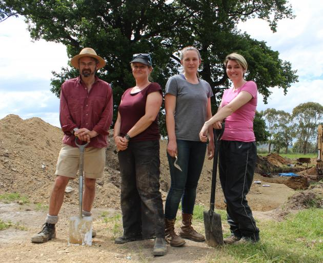 Dr Peter Petchey, Associate Prof Hallie Buckley, Dr Rebecca Kinaston and university student Baylee Smith are ready to exhume a former cemetery near Milton. Photo by Samuel White.