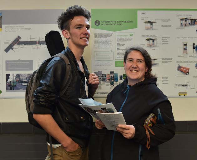 Logan Park High School pupil Louis Freeman (16) and Sharna Milner learn more at a bus hub ''drop...