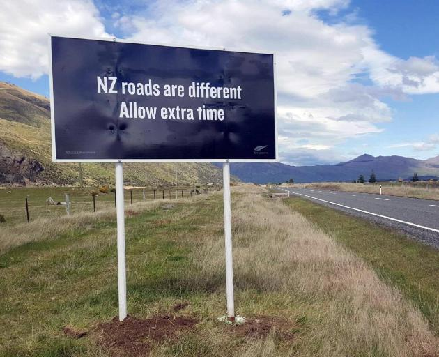 Billboards are part of safety education for visitors. Photo from NZTA.