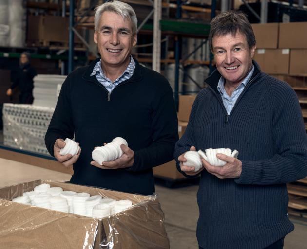 Texus Fibre chief executive Nick Davenport (left) and Andy Ramsden are excited about the potential of using wool in filter technology. Photo supplied.