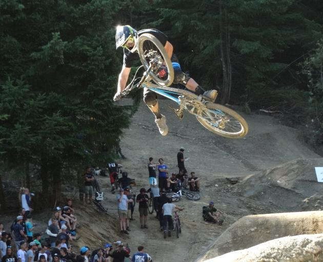 Queenstown mountain biker Reon Boe gets some air on new jumps unveiled at Saturday's Wynyard...